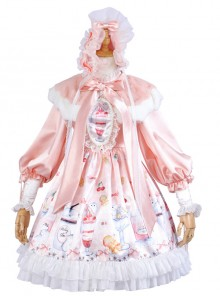 Hamster Cup Series OP Pink Sweet Lolita Long Sleeve Dress And Cloak Set