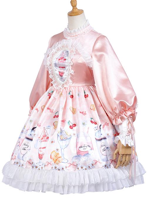 Hamster Cup Series OP Pink Sweet Lolita Long Sleeve Dress And Cloak Set