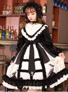 Dark Gold Hymn Series OP Gothic Lolita Long Sleeve Dress