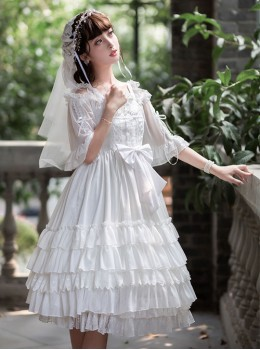 Venus Kiss Series White Elegant Classic Lolita Sling Dress