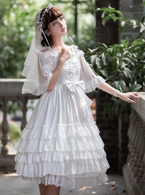 Venus Kiss Series White Elegant Classic Lolita Sling Dress