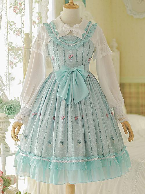 Flower Wall Series Chiffon Ruffle Sweet Lolita Sling Dress