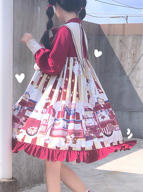Popcorn Series Christmas Red Sweet Lolita Long Sleeve Dress