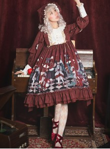 Little Red Riding Hood Theatre Series Printing Sweet Lolita Long Sleeve Dress