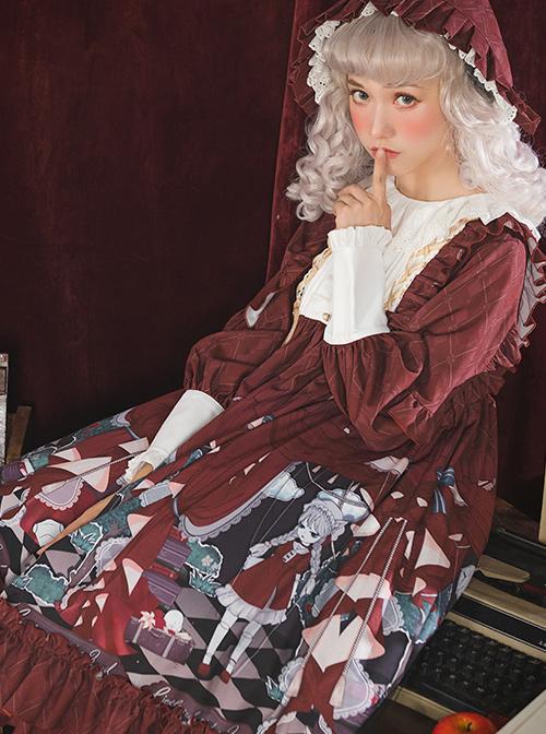 Little Red Riding Hood Theatre Series Printing Sweet Lolita Long Sleeve Dress