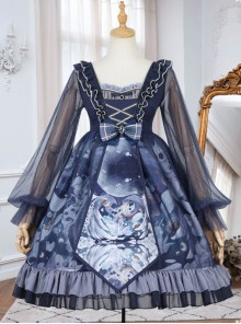 Unicorn Series OP Chiffon Retro Gothic Long Sleeve Dress