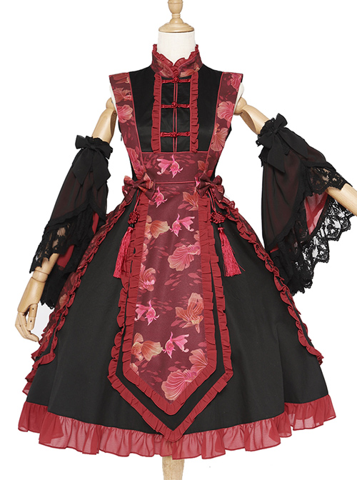 Magic Tea Party Swimming Fish Play Dream Series OP Chinese Style Classic Lolita Stand Collar Dress
