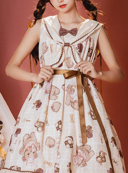Little Bear's Dessert Series JSK High Waist Navy Neck Sweet Lolita Sleeveless Dress