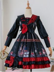 Marionette Series OP High Waist Gothic Lolita Long Sleeve Dress