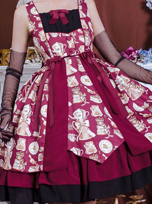 Magic Tea Party Roasted Coffee Series JSK Classic Lolita Sling Dress