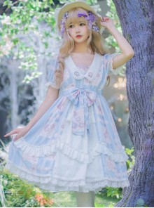 Summer Frost Wind Series OP Sweet Lolita Short Sleeve Dress