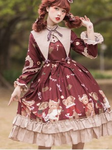 The Sweetheart Bear Tea Party Series OP Sweet Lolita Long Sleeve Dress