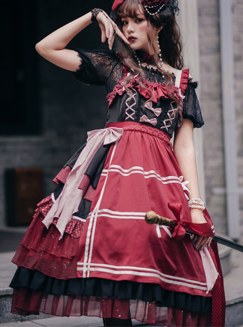 The Little Witch Poem Series Sweet Lolita Sling Dress And Shirt Set