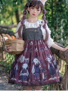 Poisonous Mushrooms Series JSK Denim Stitching Sweet Lolita Sling Dress