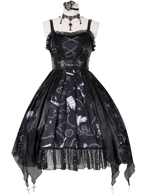 The Vampire Diaries Series JSK Darkness Gothic Lolita Sling Dress