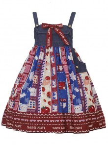 Small Tomato Series JSK Denim Stitching Sweet Lolita Sling Dress