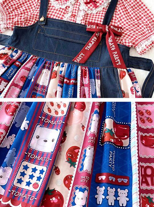 Small Tomato Series JSK Denim Stitching Sweet Lolita Sling Dress