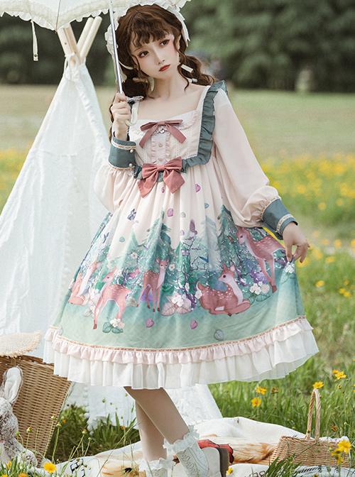 The Small Fawn Series OP Printing Sweet Lolita Long Sleeve Dress