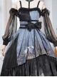 Decaying Forest Series JSK Blue Darkness Retro Gothic Lolita Sling Dress