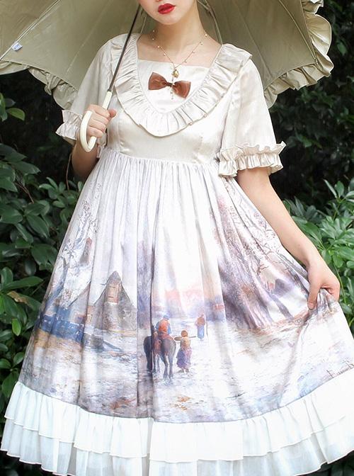 Oil Painting Series OP Elegant Classic Lolita Short Sleeve Dress