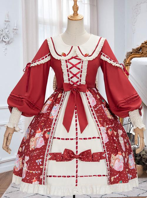 Strawberry Milkshake Series OP Sweet Lolita Long Sleeve Dress
