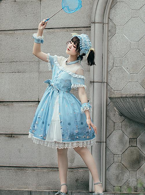 Ocean Wishing Bottle Series OP Sweet Lolita Short Sleeve Dress