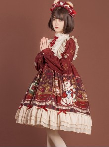 Crown Bear Series OP Sweet Lolita High Waist Long Sleeve Dress