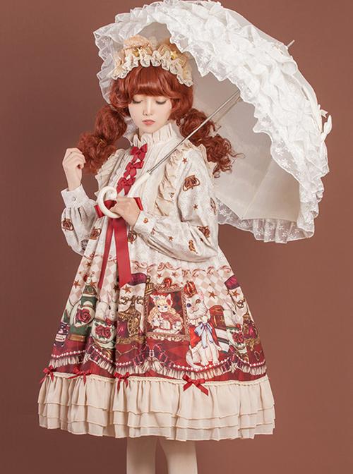 Crown Bear Series OP Sweet Lolita High Waist Long Sleeve Dress