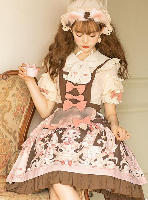 Crown Kitten Series Printing Sweet Lolita Short Sleeve Dress