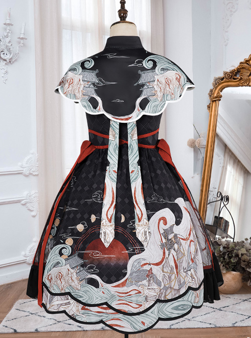 Mythical Animals Fight Series OP Chinese Style Retro Classic Lolita Dress Set