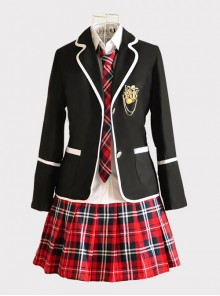 Middle School Students High School Students Uniform Suit Black Jacket Red Plaid Skirt Collegiate JK Uniform