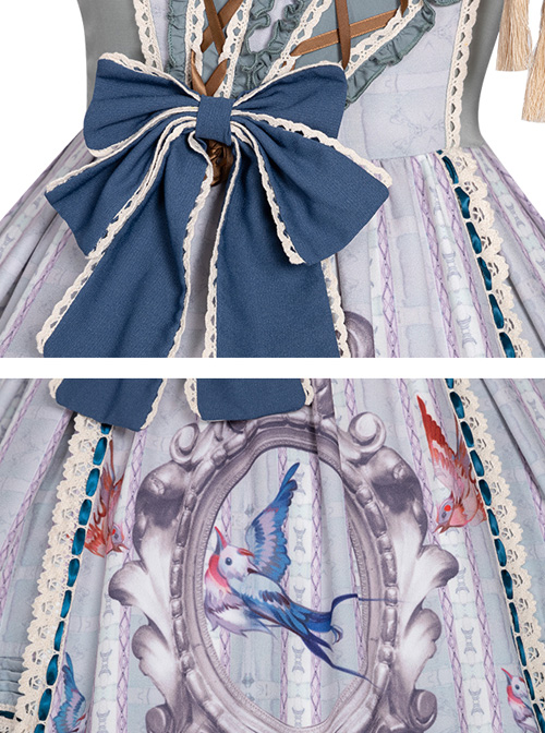 Sparrows In The Mirror Series JSK Type I Light Blue Retro Pastoral Style Sweet Lolita Sling Dress