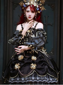 Golden Lily Series JSK Retro Elegant Palace Style Gothic Lolita Black And Golden Sling Dress