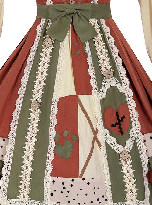 Pastoral Style Stitching Design Sweet Lolita Sling Dress And Shirt Set