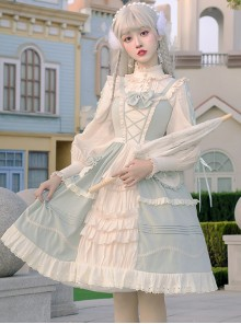 Pastoral Style Light Green Sweet Lolita Sling Dress And Shirt Set