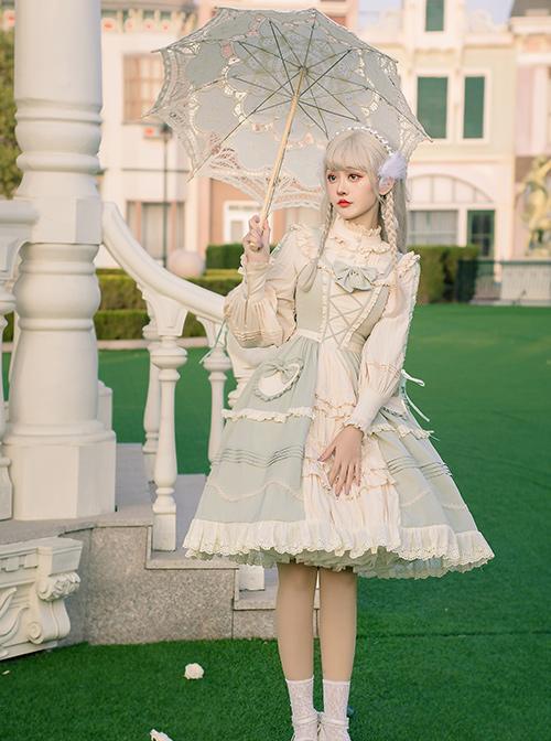 Pastoral Style Light Green Sweet Lolita Sling Dress And Shirt Set