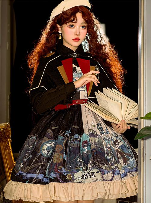 Abyss Series JSK Retro Punk Lolita Sling Dress And Cape Set