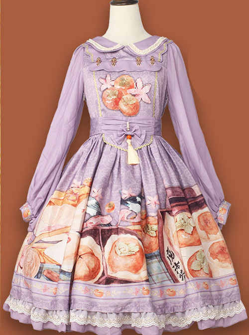 Persimmon Printing OP Chinese Style Sweet Lolita Long Sleeve Dress