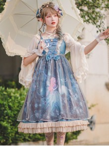 Moonlit Forest Series JSK Blue Chiffon Sweet Lolita Sling Dress