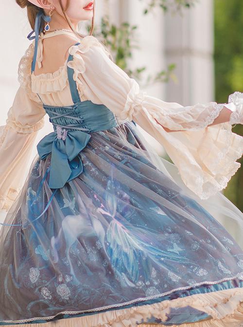 Moonlit Forest Series JSK Blue Chiffon Sweet Lolita Sling Dress