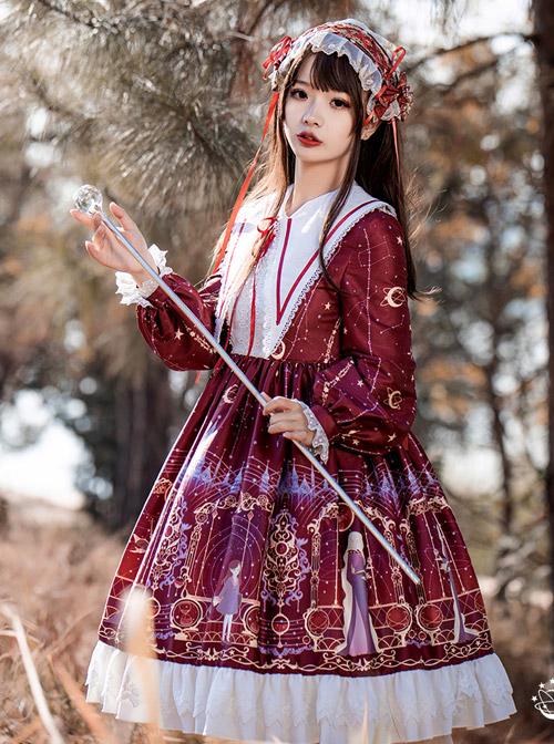Astrology College Series OP Sweet Lolita Long Sleeve Dress