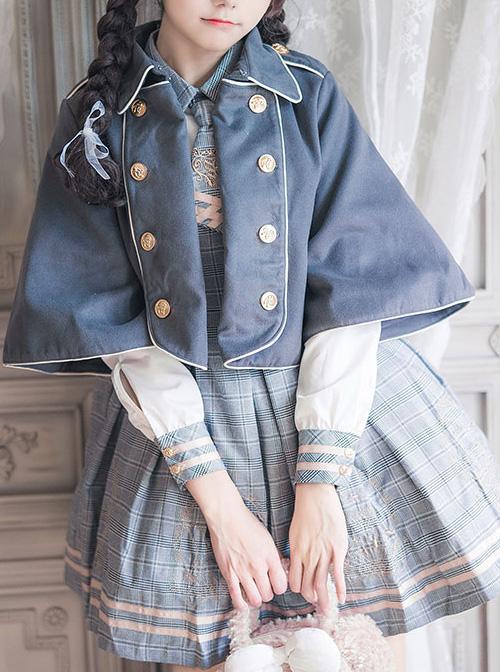 Little Bear Embroidery School Lolita Long Sleeve Plaid Dress And Woolen Cloak And Hat Set
