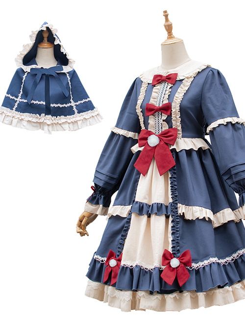 Christmas Fairy Tale Series Winter Thicken Long Sleeve Dress And Cape