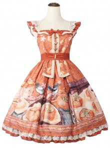 Persimmon Printing JSK Chinese Style Sweet Lolita Short Style Sling Dress