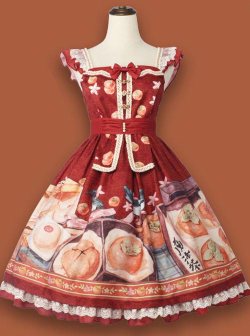 Persimmon Printing JSK Chinese Style Sweet Lolita Short Style Sling Dress