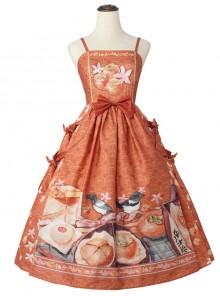 Persimmon Printing JSK Chinese Style Sweet Lolita Long Style Sling Dress