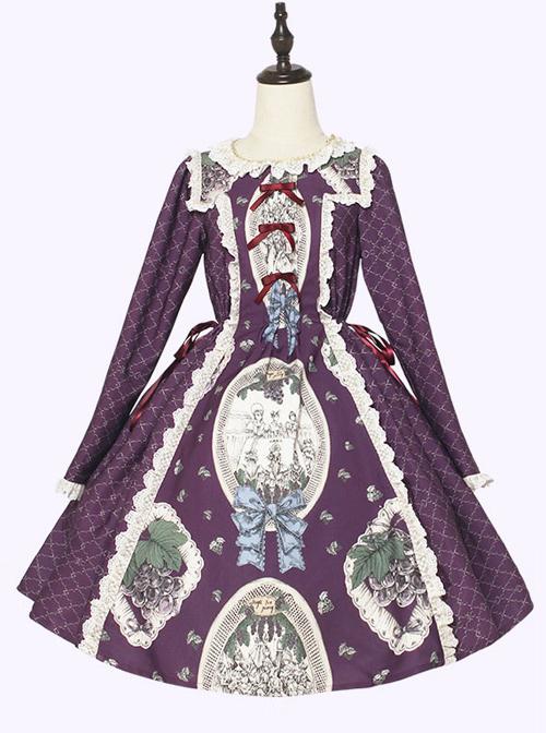 Grape Princess Series OP Elegant Classic Lolita Long Sleeve Dress
