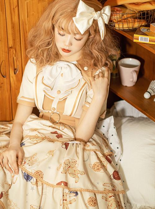 Rabbit Astronaut Series Printing Cake Hem Sweet Lolita Short Sleeve Dress