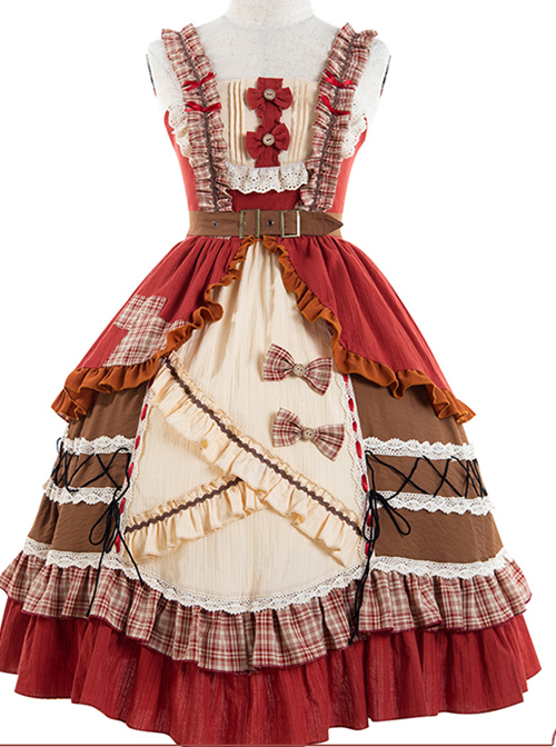 Little Red Riding Hood Series JSK Retro Pastoral Style Sweet Lolita Sling Dress And Cloak