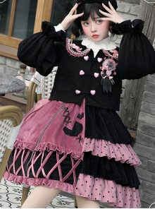 Exploding Raspberry Series JSK Autumn Winter Retro Color Matching Sweet Lolita Sling Dress And Top Set